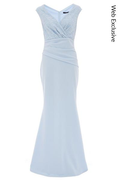 Blue Lace Ruched Maxi Dress